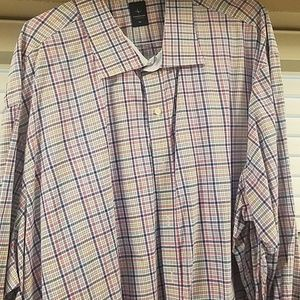 Tailorbyrd 5XL  blue pink plaid dress shirt